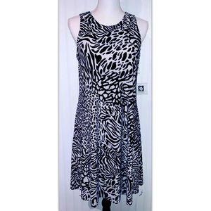 Anne Klein Size 6 Dress Cream Black Animal Print
